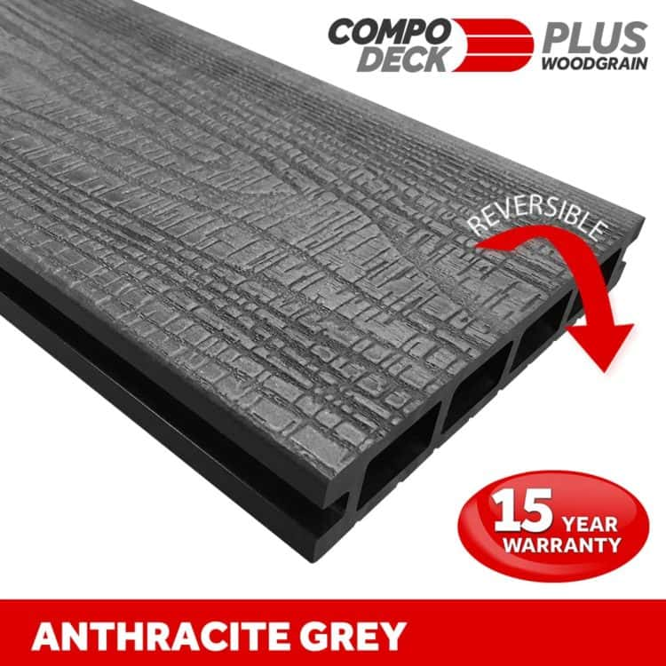 Compo Deck PLUS - Anthracite Wood Grain Reversible WPC Decking Board