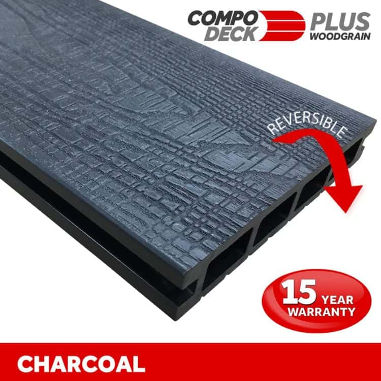 Compo Deck PLUS - Charcoal Wood Grain Reversible WPC Decking Board