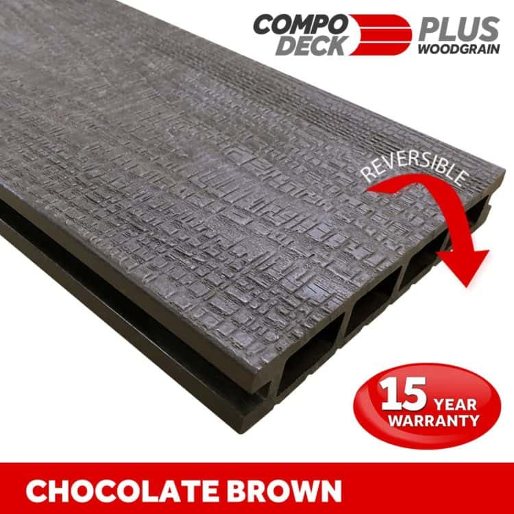 Compo Deck PLUS - Chocolate Brown Wood Grain Reversible WPC Decking Board