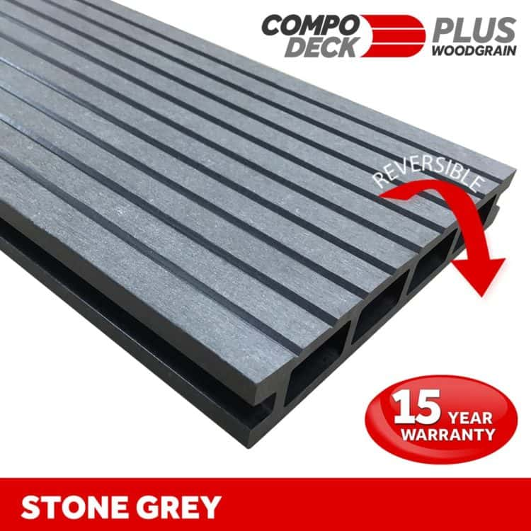 Compo Deck PLUS - Stone Grey Wood Grain Reversible WPC Decking Board