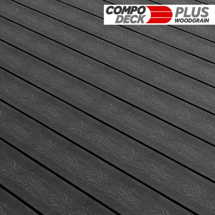 Compo Deck Plus Woodgrain WPC Decking Board Charcoal