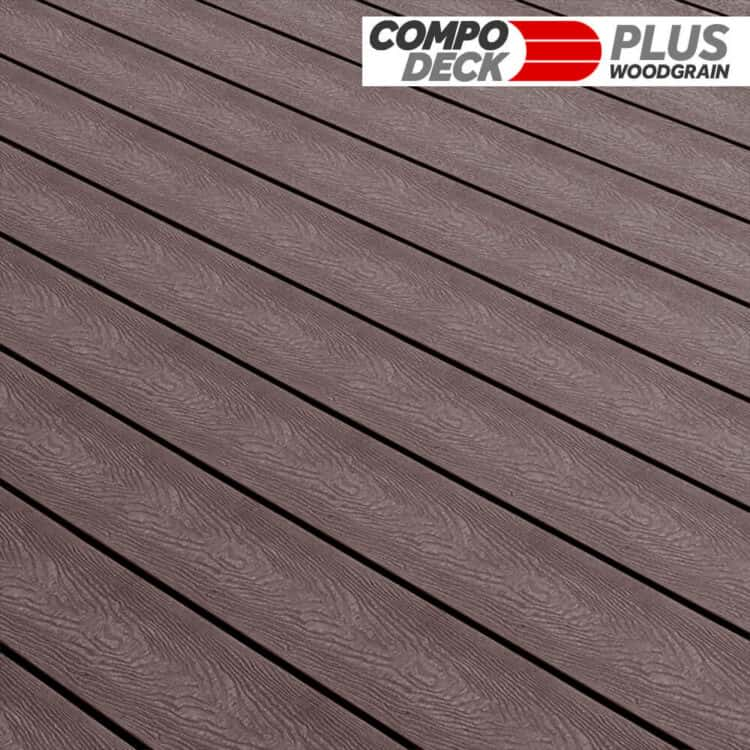 Compo Deck Plus Woodgrain WPC Decking Board Chocolate